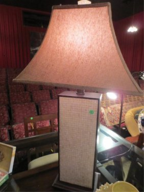 2: CONTEMPORARY RATTAN MOTIF TABLE LAMP, LIGHT RATTAN S
