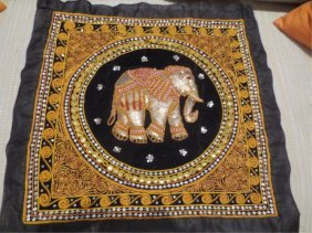 3: MADE IN INDIA EMBROIDERED PILLOWCASE WITH ELEPHANT D