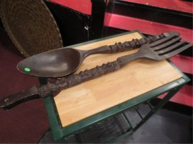 5: OVERSIZE CARVED WOOD FORK AND SPOON, APPROX 3.5' L