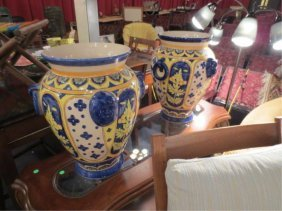 PAIR OF HUGE DECORATIVE GARDEN URNS IN YELLOW & BLUE