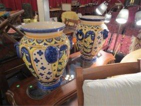 8: PAIR OF HUGE DECORATIVE GARDEN URNS IN YELLOW & BLUE