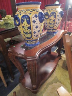 9: ORNATE DARK WOOD CONSOLE TABLE, 2 TIERS WITH GLASS I