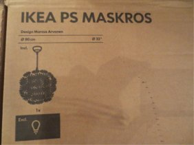 """10: IKEA """"MASKROS"""" ROUND CHANDELIER, WHITE MOULDED STYL"""