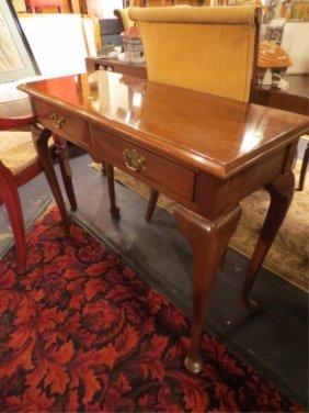 11: STICKLEY CONSOLE TABLE, BRASS HARDWARE, SPADE FEET,