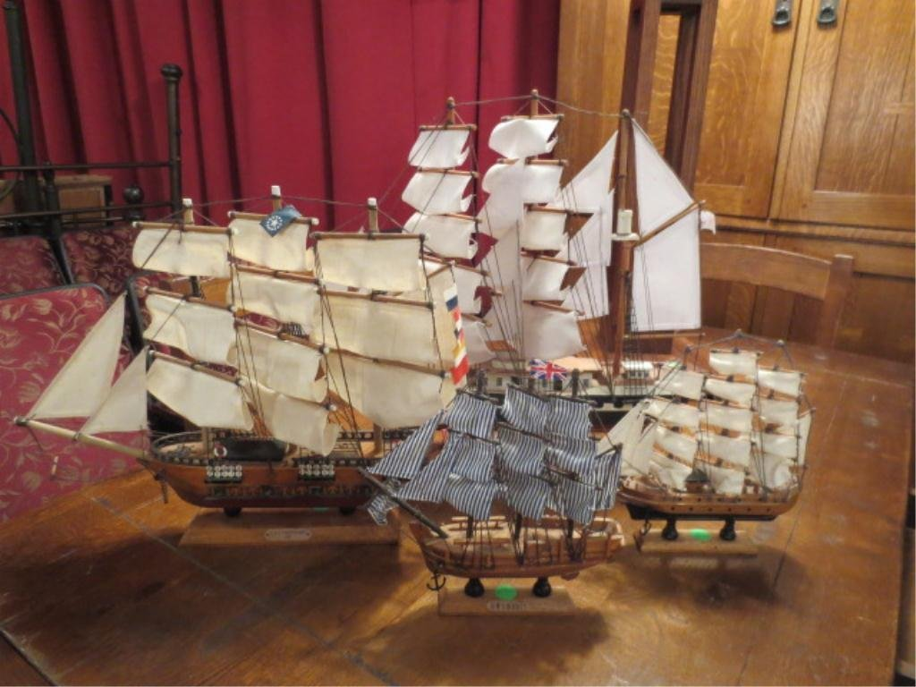 "15: SET OF FOUR MODEL SHIPS - BELEM APPROX 17.5"" HIGH,"