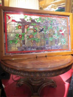 19: STAINED GLASS PANEL WITH BIRDS, LEAVES AND FLOWERS,