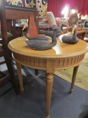 "ROUND WOOD SIDE TABLE, LIGHT FINISH, APPROX 30"" ROU"