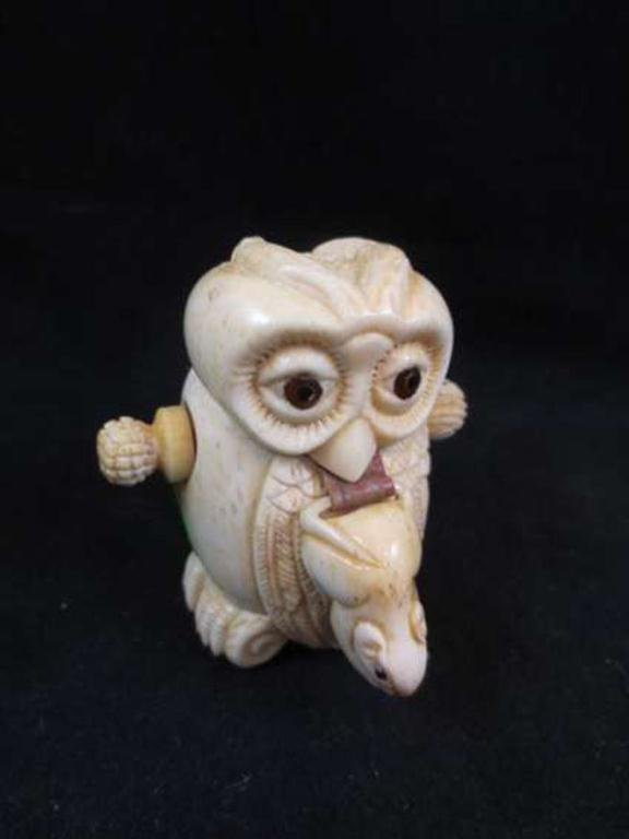 149: CARVED MARINE IVORY/BONE OWL & MOUSE TAPE MEASURE,