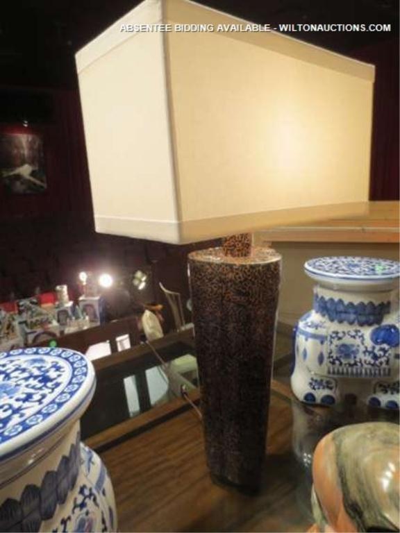 2: CONTEMPORARY TABLE LAMP, RECTANGULAR WHITE SHADE, AP