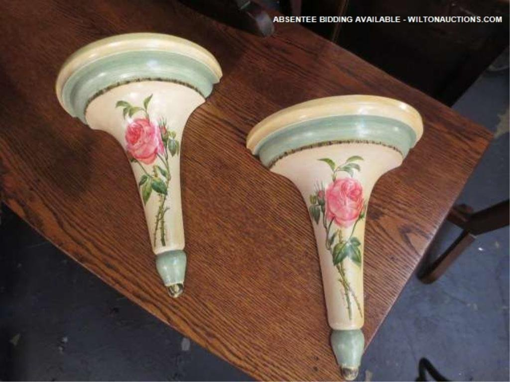 4: PAIR PAINTED WALL SHELVES, FLORAL DESIGNS, APPROX 15