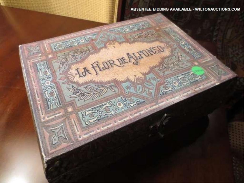"5: CIGAR BOX, ""LA FLOR DE ALFONSO"" BRAND LABEL ON TOP,"