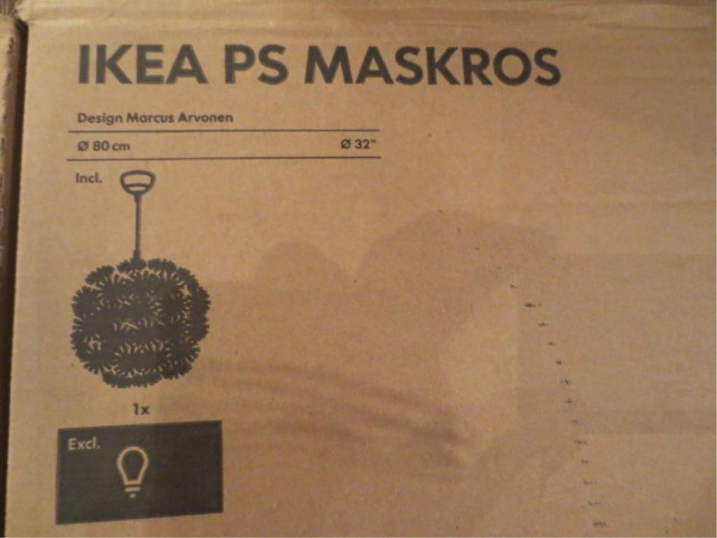 "6: IKEA ""MASKROS"" ROUND CHANDELIER, WHITE MOULDED STYLI"