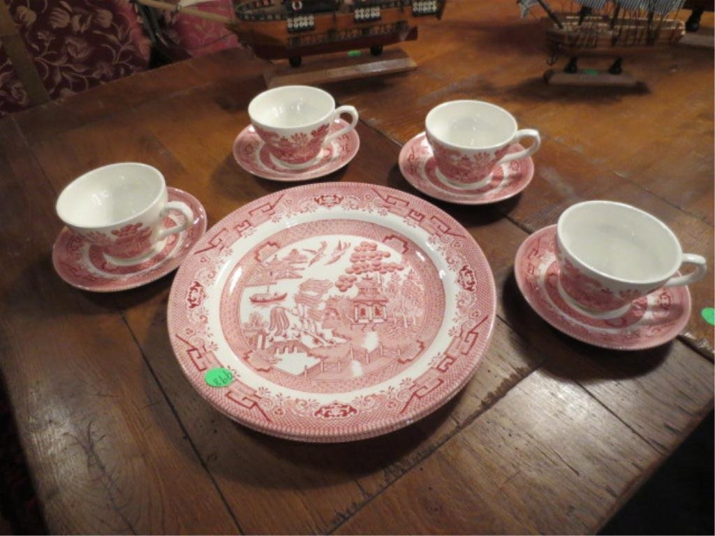 7: CHURCHILL RED WILLOW PATTERN DISHES, TWO PLATES, FOU
