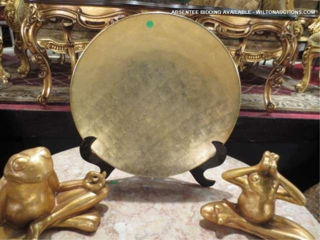 """10: GOLD FINISH PLATE ON STAND, APPROX 20"""" ROUND"""