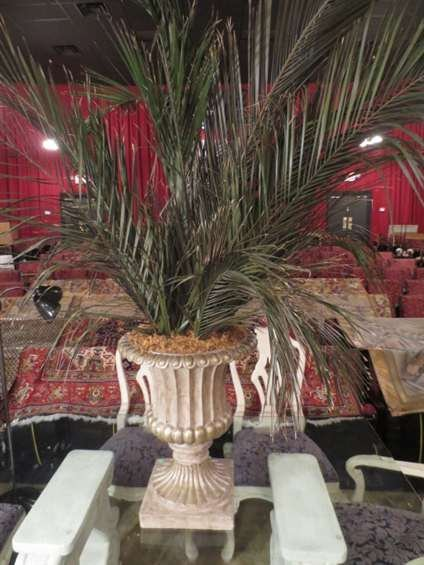 1: LARGE FAUX PALM IN TAN COMPOSITION URN, APPROX 5' H