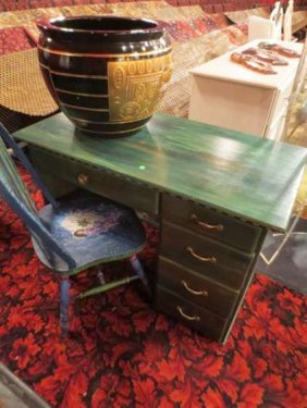 PAINTED DESK, 5 DRAWERS, SHADES OF GREEN, PAINTED DE