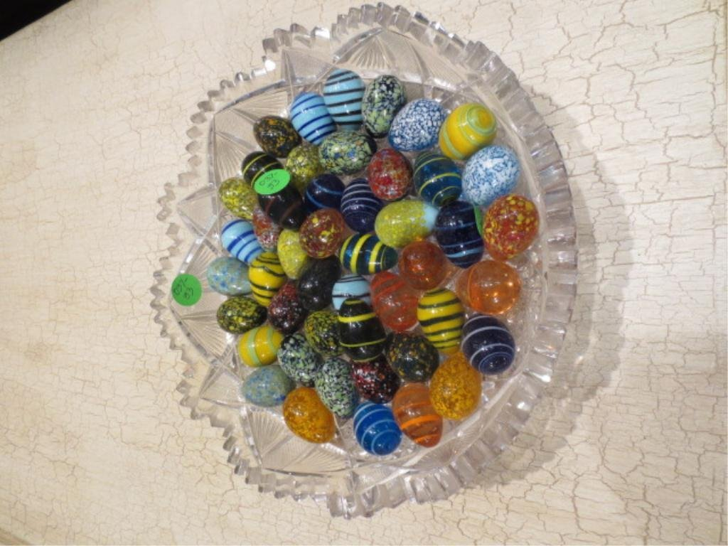5: CUT CRYSTAL BOWL FILLED WITH MURANO ART GLASS EGGS,