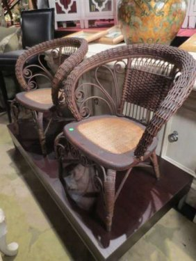 PAIR VINTAGE RATTAN ARMCHAIRS, SCOOP BACK, CANE SEAT