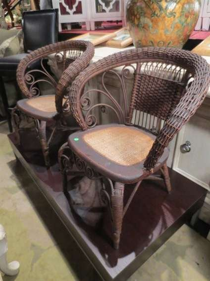 7: PAIR VINTAGE RATTAN ARMCHAIRS, SCOOP BACK, CANE SEAT