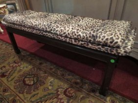 UPHOLSTERED BENCH WITH LEOPARD PRINT FABRIC, BLACK