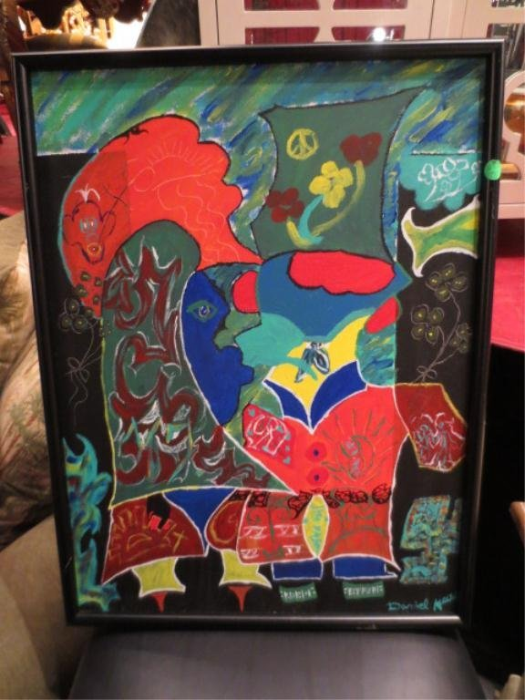 22: LARGE ORIGINAL PAINTING ON CANVAS, HAITIAN ABSTRACT