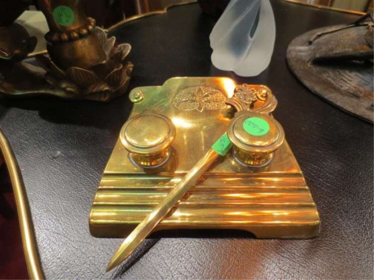 279: BRASS DOUBLE INKWELL DESK SET WITH LETTER OPENER