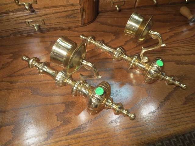 """9: PAIR POLISHED BRASS WALL SCONCES, APPROX 16"""" L"""