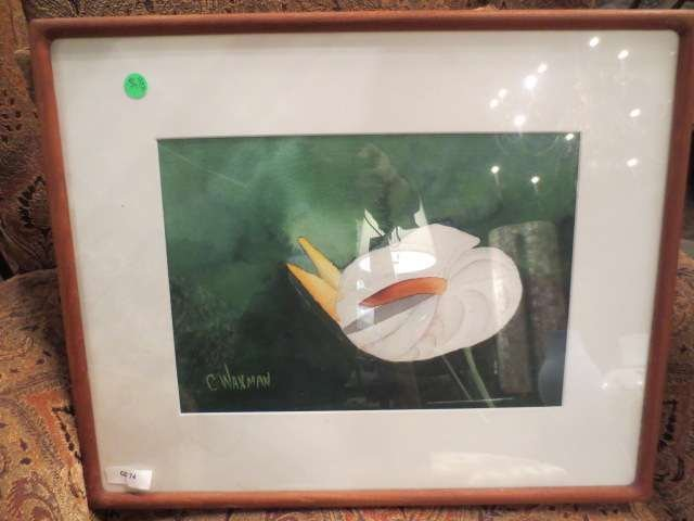 """18: C. WAXMAN CALLA LILLY PAINTING, APPROX 17"""" X 21"""" FR"""
