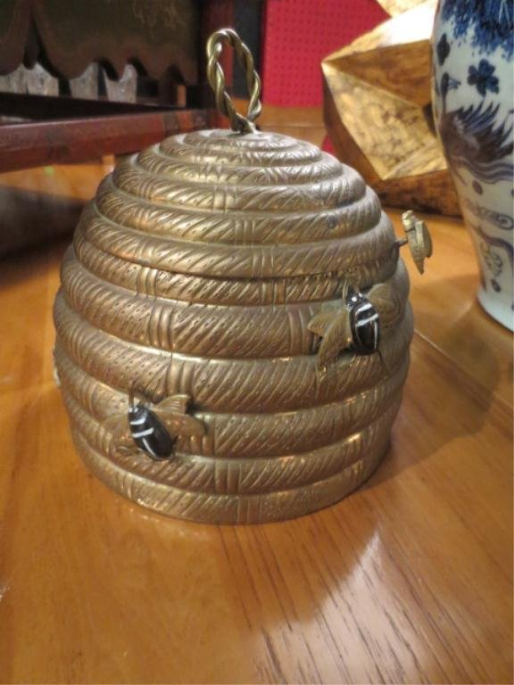 78: MOTTAHEDEH BRASS BEEHIVE CONTAINER WITH HINGED LID, - 3
