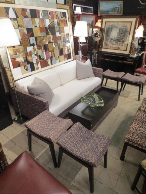 134: HANDWOVEN NATURAL FIBER SOFA WITH IMMACULATE WHITE