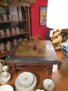 8: VINTAGE CHINESE TEA TABLE, CARVED WOOD WITH PAINED U