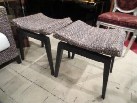15: PAIR OF HANDWOVEN NATURAL FIBER BENCHES BY HIGH END