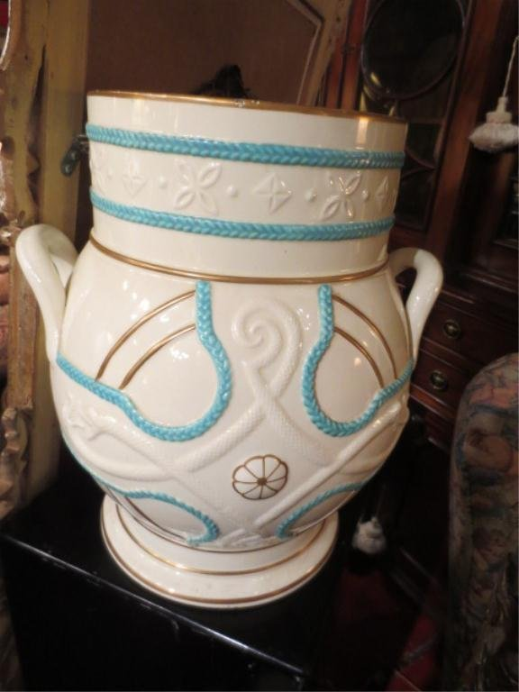 "18: LARGE PORCELAIN URN WITH HANDLES, APPROX 14.5"" HIGH"