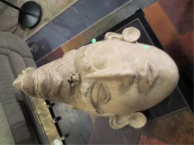 """21: LARGE POTTERY MASK, MAYAN FACE, APPROX 18"""" HIGH"""