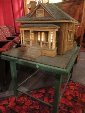 22: LARGE ANTIQUE HOUSE MODEL ON STAND, LIGHTED INTERIO