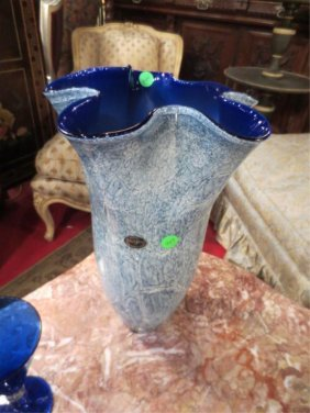 221: JOZEFINA POLAND ART GLASS VASE WITH COBALT BLUE IN