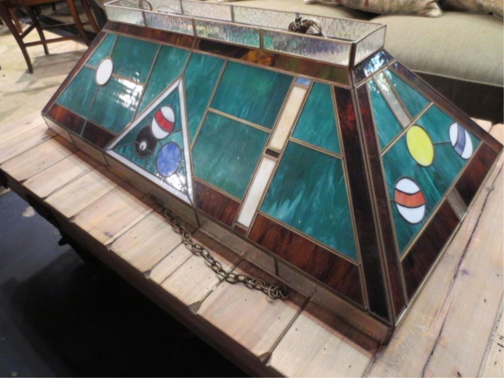 2: STAINED GLASS STYLE POOL TABLE LAMP, WITH BILLIARD B