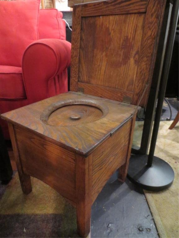 "9: ANTIQUE CHAMBER POT, IN WOODEN CASE, APPROX 20"" SQUA"