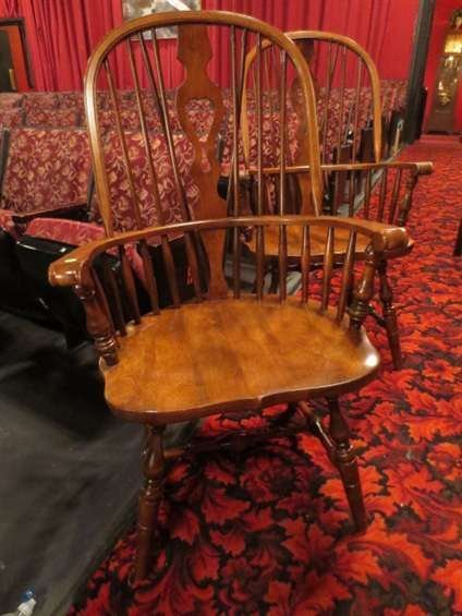 11: PAIR WINDSOR CHAIRS BY BENT & BROS, MEDIUM FINISH,