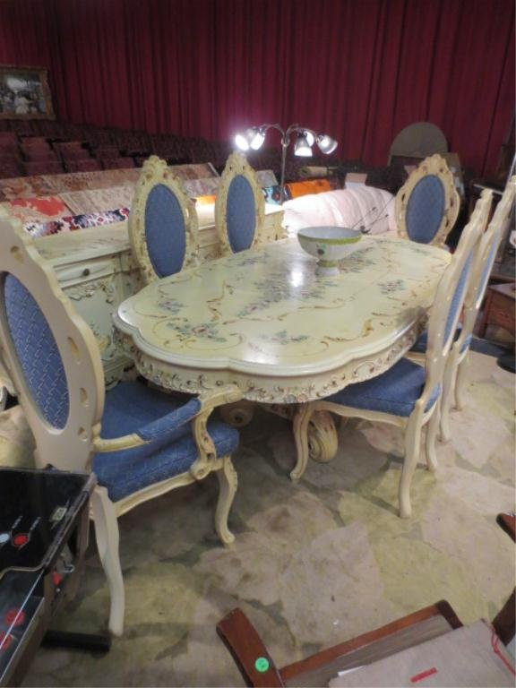 21: ITALIAN ROCOCO DINING TABLE WITH DUAL PEDESTALS, 6