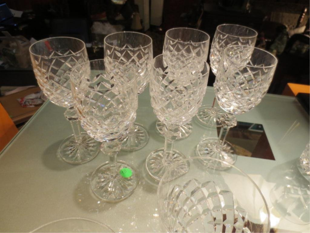 22: 7 WATERFORD CRYSTAL STEMWARE WINE GLASSES, APPROX 7