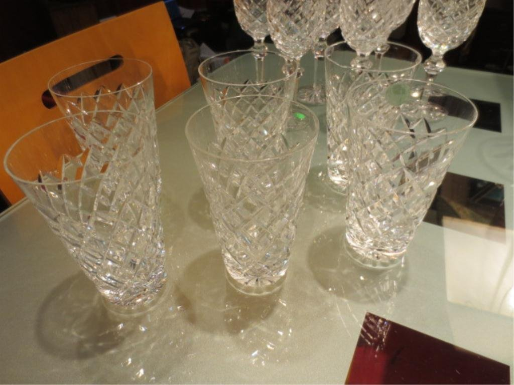 23: 6 WATERFORD CRYSTAL WATER GLASSES, ONE CHIPPED, APP