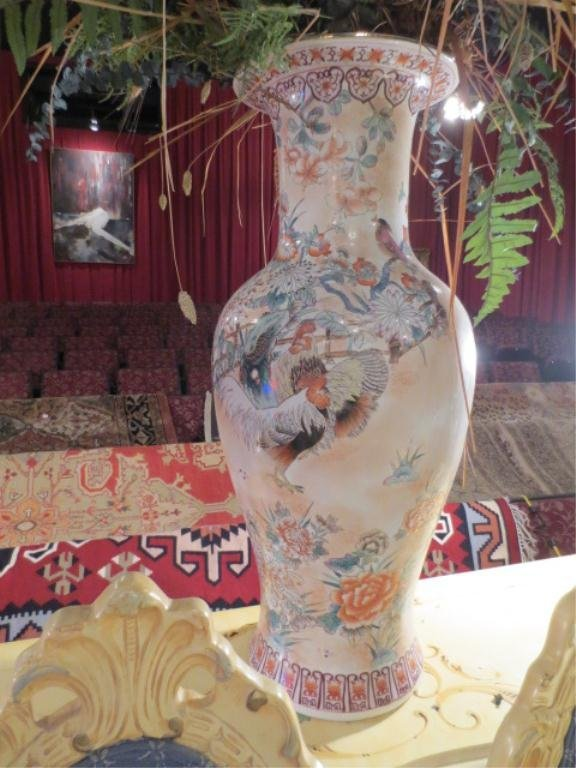 1: HUGE CHINESE PORCELAIN VASE, HANDPAINTED ROOSTERS AN