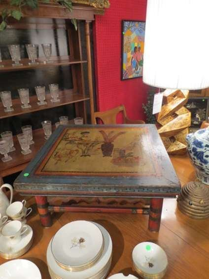 8: VINTAGE CHINESE TEA TABLE, CARVED WOOD WITH PAINTED