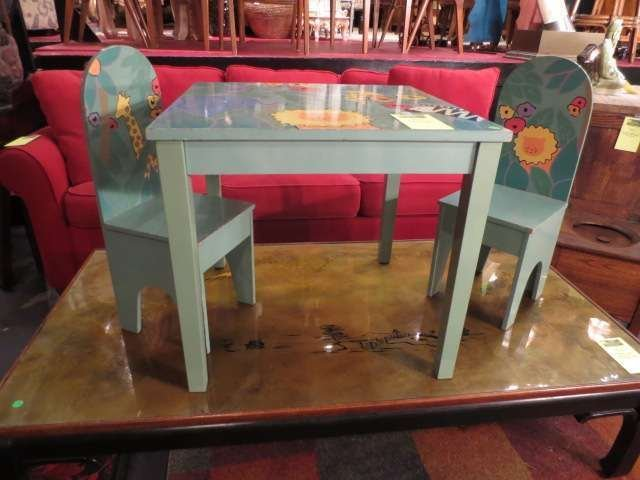10: CHILD'S PAINTED TABLE WITH 2 MATCHING CHAIRS, ANIMA