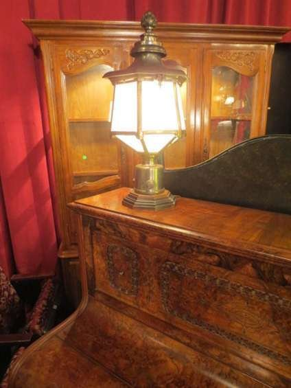 12: VINTAGE ENGLISH STEEL AND BRASS LANTERN STYLE TABLE