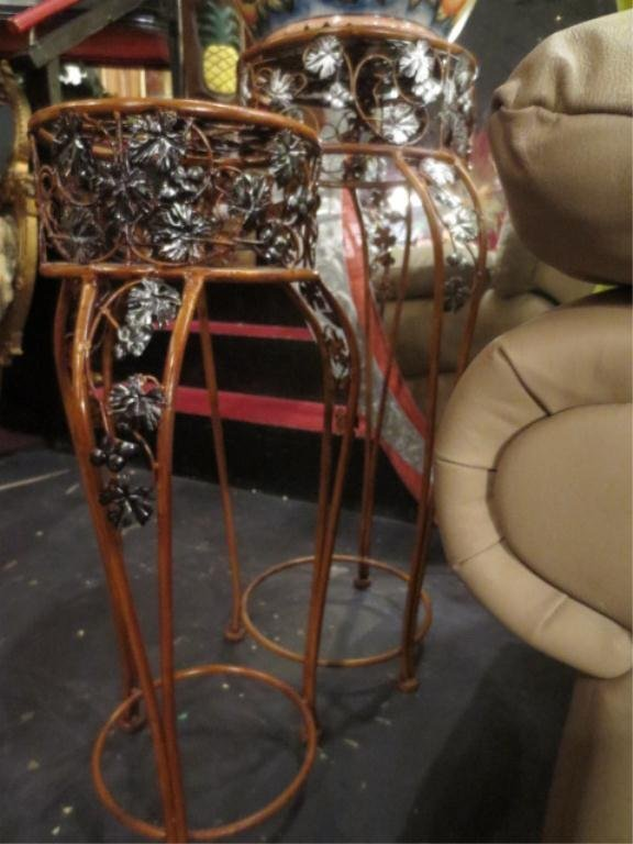 17: 2 PC SET ORNATE METAL PLANT STANDS, LARGEST APPROX