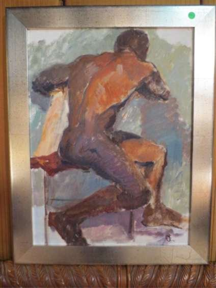 24: LARGE MALE NUDE OIL PAINTING ON CANVAS, SIGNED LOWE