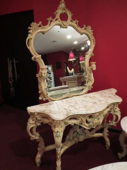 54: ITALIAN ROCOCO FOYER TABLE AND MIRROR, CARVED WOOD