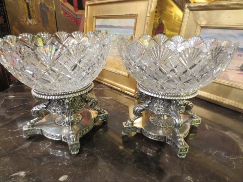 85: PAIR OF ODIOT PARIS FRENCH SILVER-GILT BRONZE & CRY